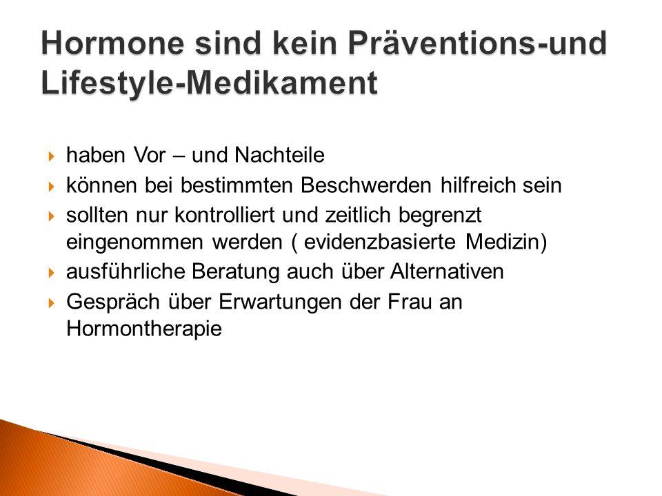 Hormone sind kein Präventions-und Lifestyle-Medikament