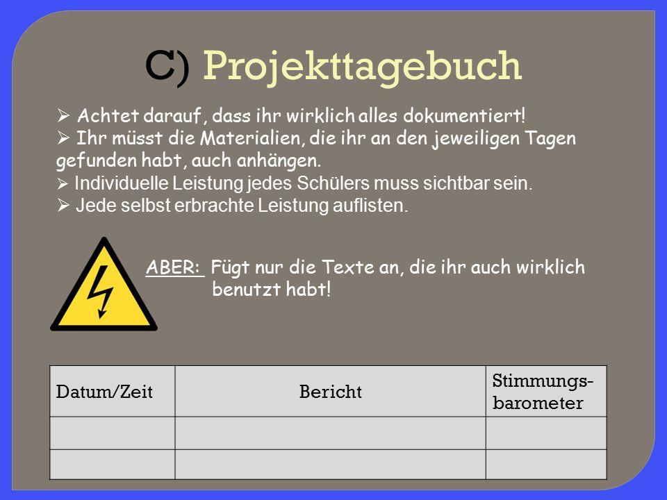 C) Projekttagebuch Achtet darauf, dass ihr wirklich alles dokumentiert!