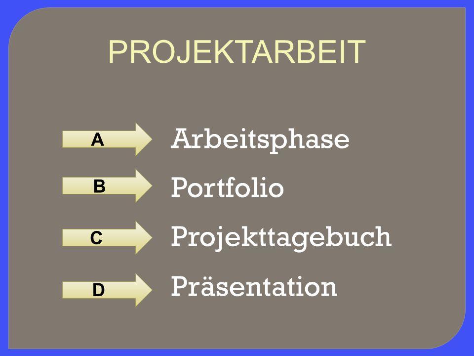 PROJEKTARBEIT Arbeitsphase Portfolio Projekttagebuch Präsentation A B