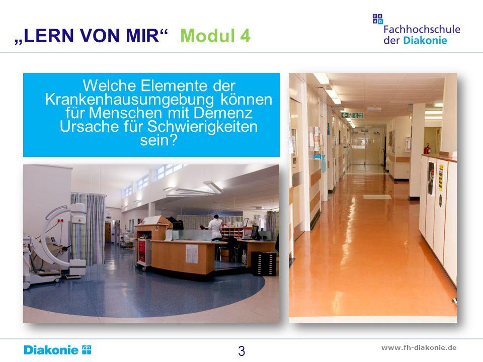 """""""LERN VON MIR Modul 4 Welche Elemente der Krankenhausumgebung können für Menschen mit Demenz Ursache für Schwierigkeiten sein"""