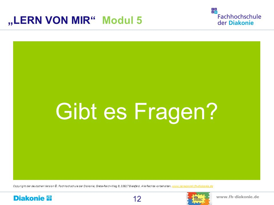 """Gibt es Fragen """"LERN VON MIR Modul 5"""