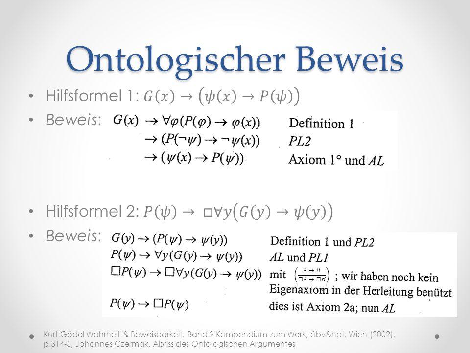 Ontologischer Beweis Hilfsformel 1: 𝐺 𝑥 → 𝜓 𝑥 →𝑃 𝜓 Beweis: