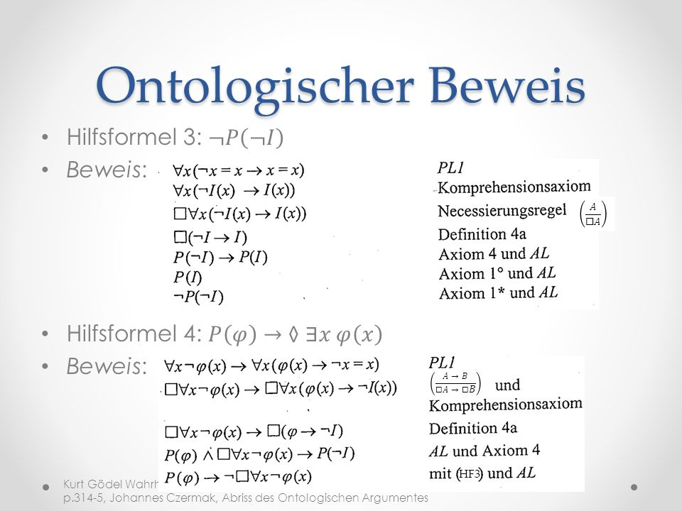 Ontologischer Beweis Hilfsformel 3: ¬𝑃 ¬𝐼 Beweis: