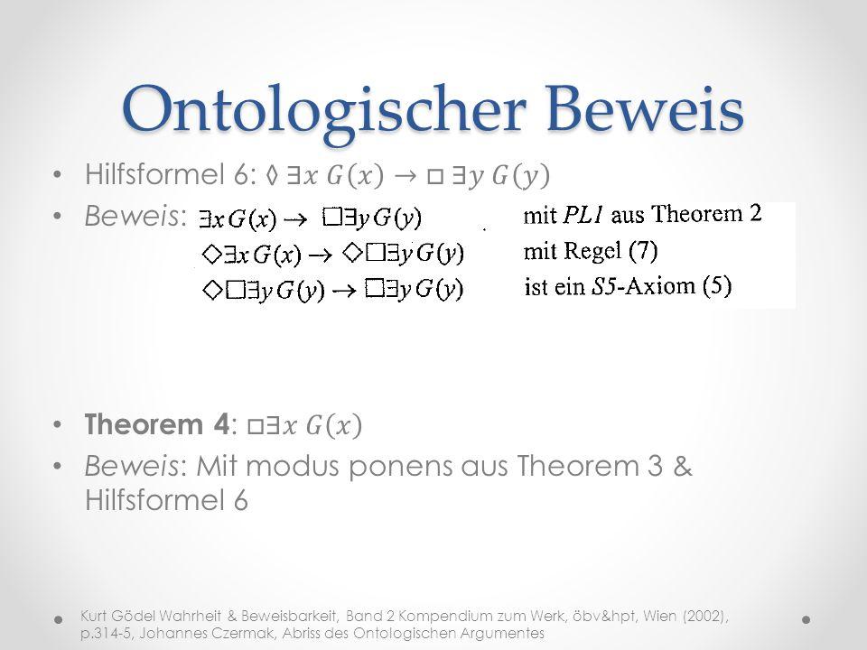 Ontologischer Beweis Hilfsformel 6: ◊∃𝑥 𝐺 𝑥 → □ ∃𝑦 𝐺 𝑦 Beweis: