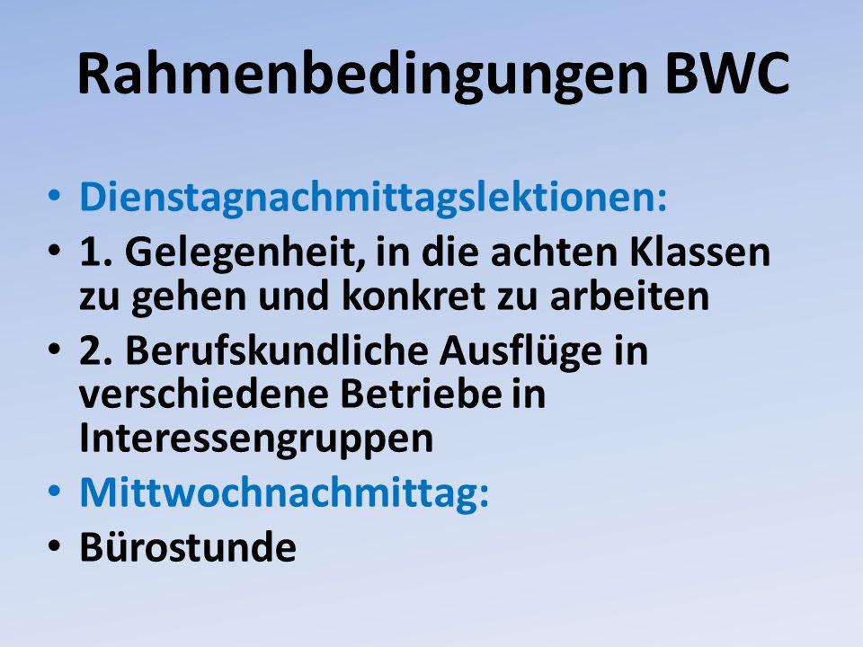 Rahmenbedingungen BWC