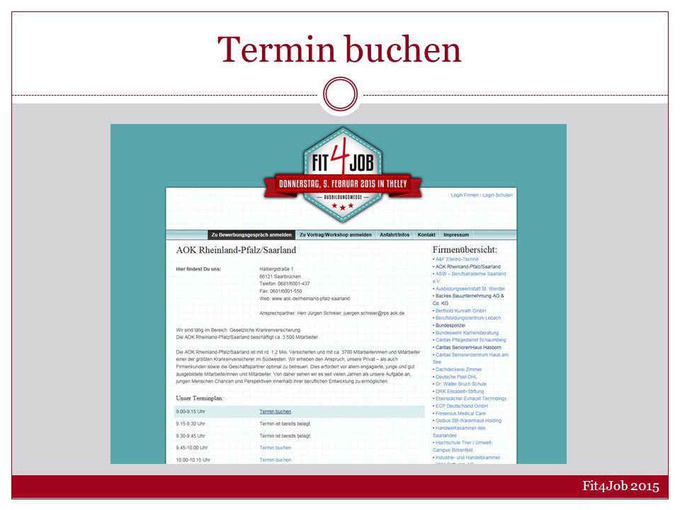 Termin buchen Fit4Job 2015
