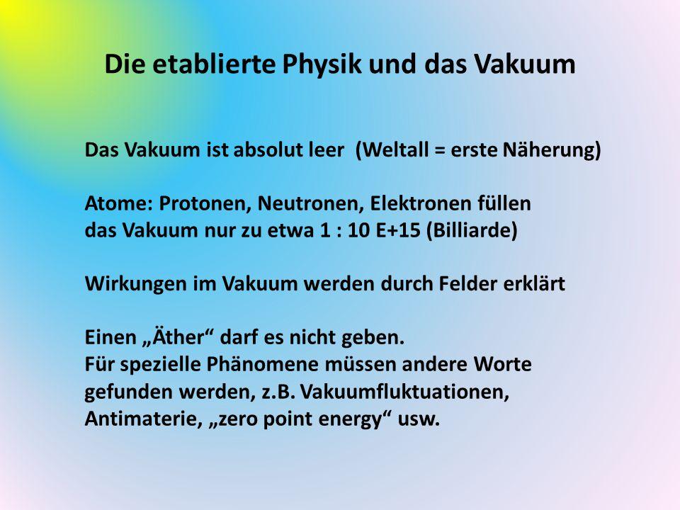 Die etablierte Physik und das Vakuum