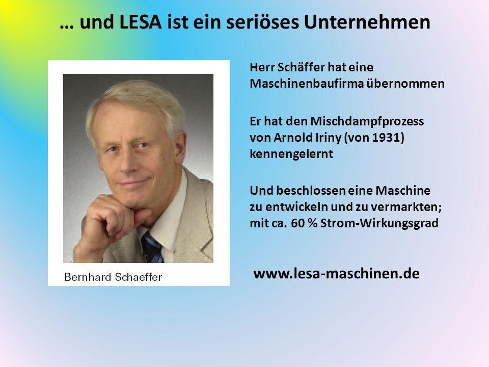 … und LESA ist ein seriöses Unternehmen