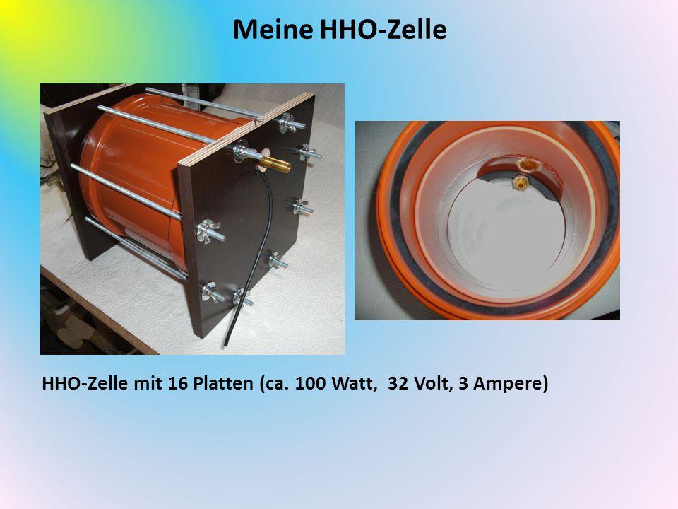Meine HHO-Zelle HHO-Zelle mit 16 Platten (ca. 100 Watt, 32 Volt, 3 Ampere)