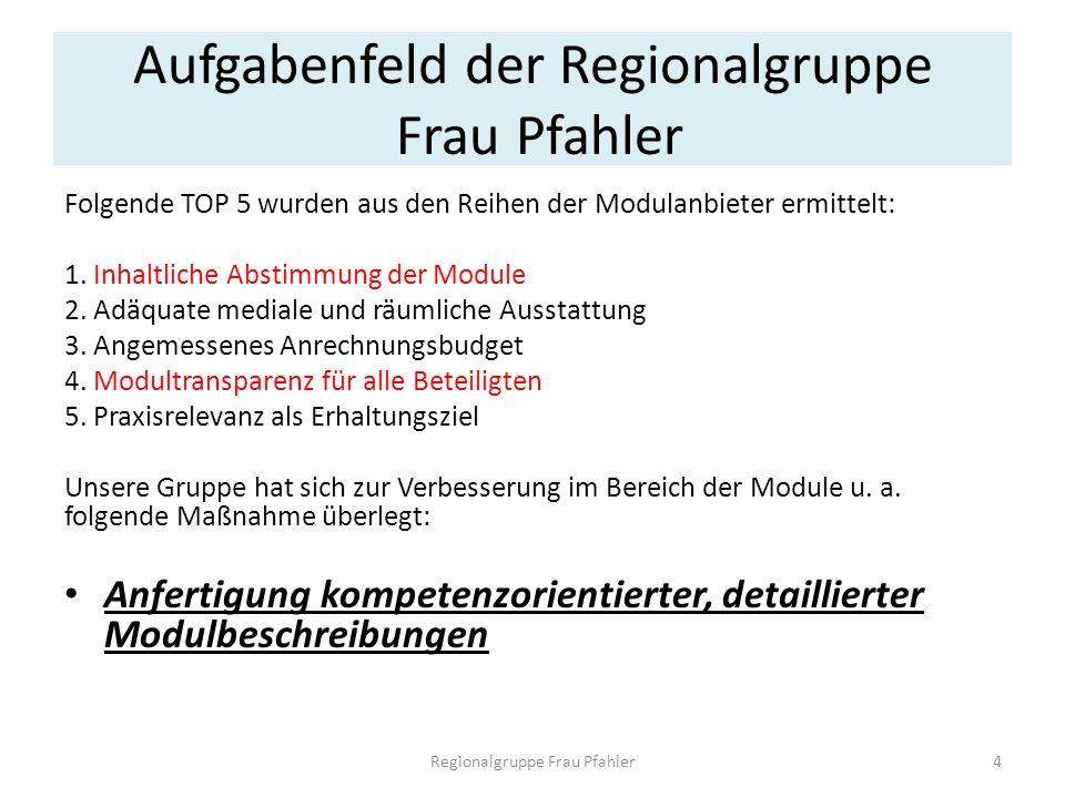 Aufgabenfeld der Regionalgruppe Frau Pfahler