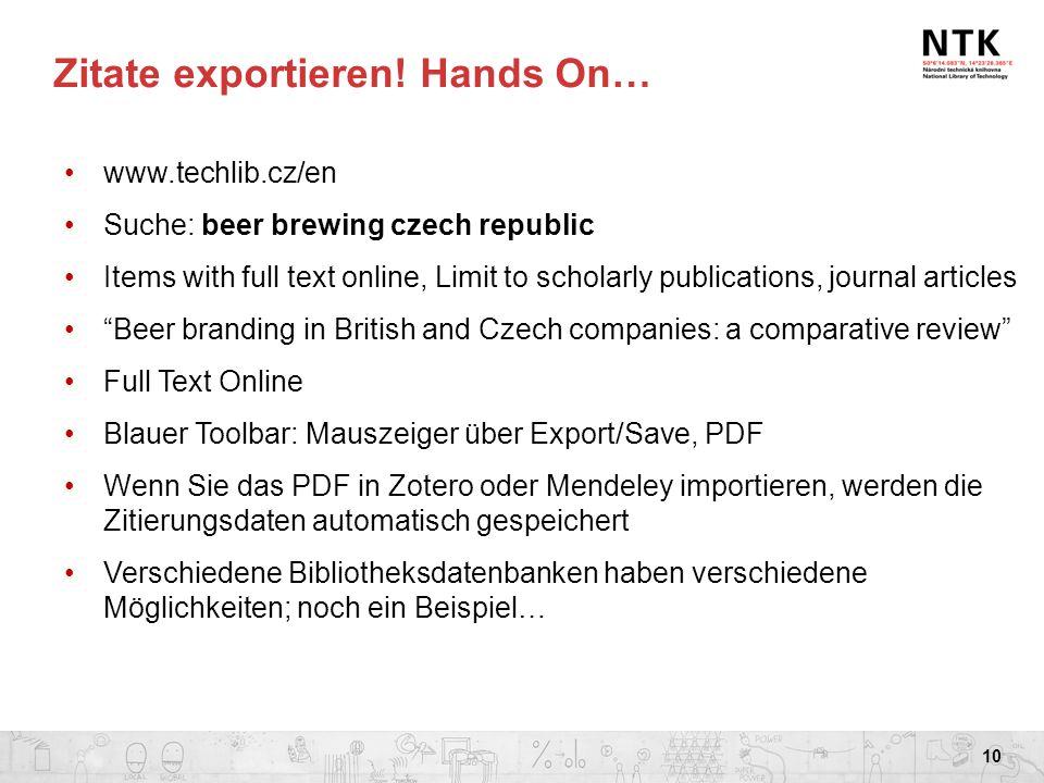 Zitate exportieren! Hands On…