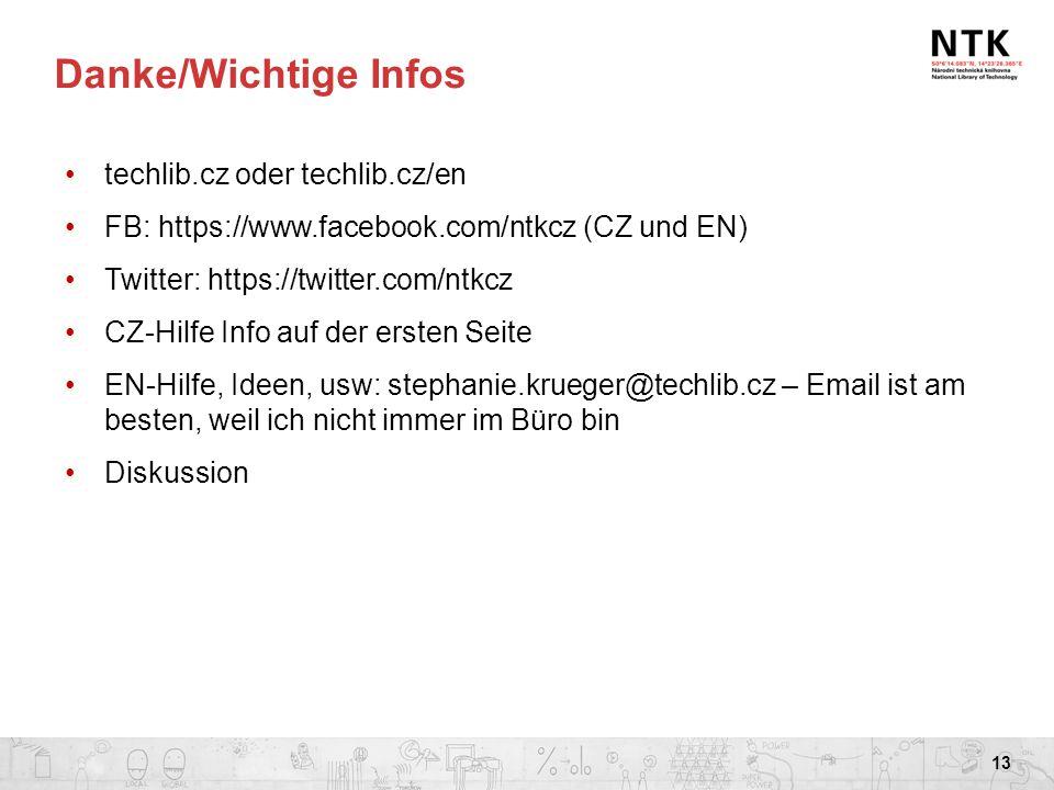 Danke/Wichtige Infos techlib.cz oder techlib.cz/en