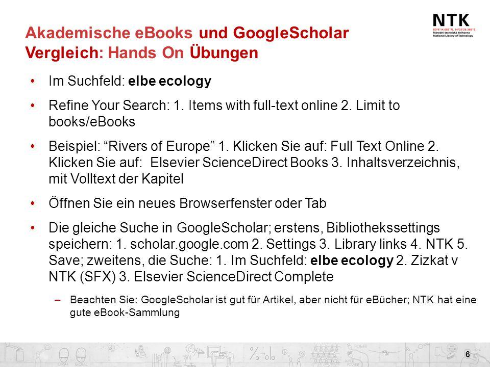 Akademische eBooks und GoogleScholar Vergleich: Hands On Übungen