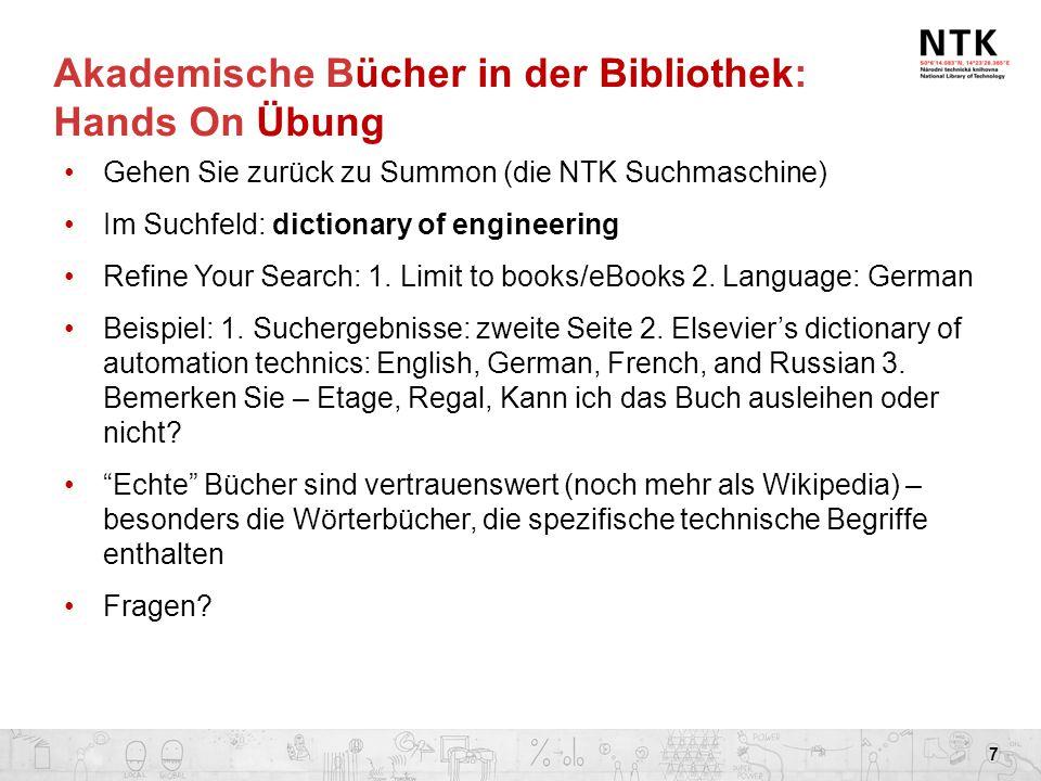 Akademische Bücher in der Bibliothek: Hands On Übung