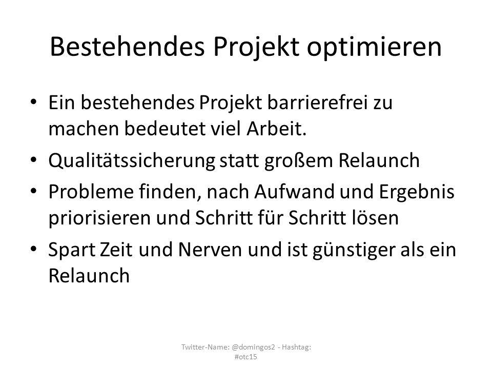 Bestehendes Projekt optimieren