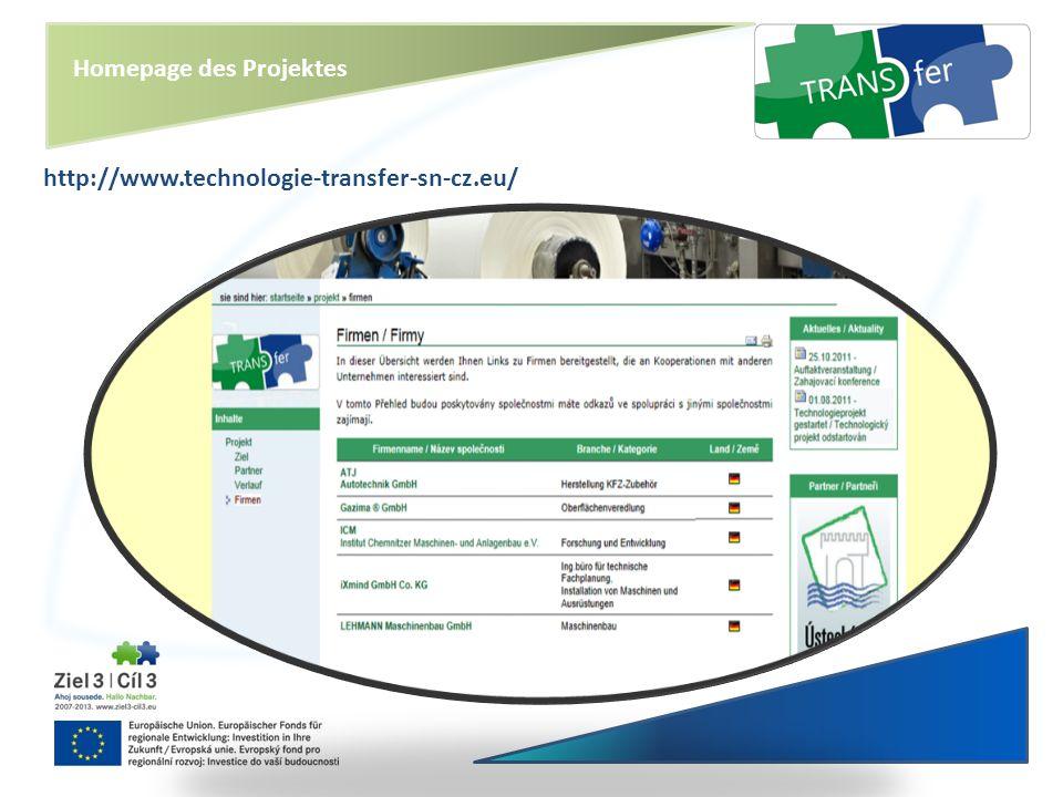 Homepage des Projektes
