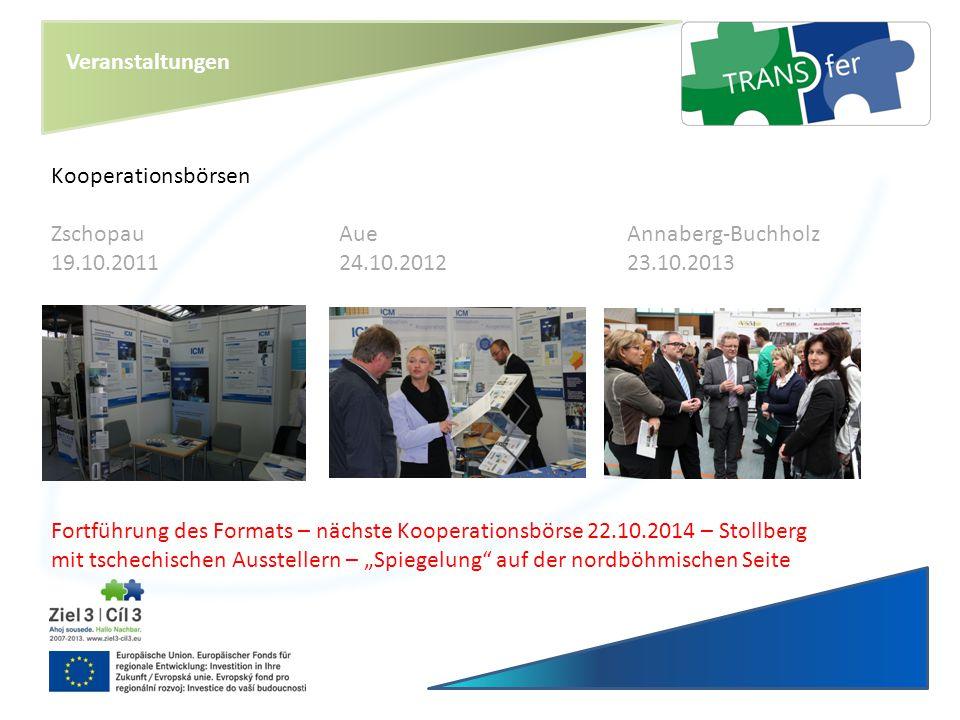 Veranstaltungen Kooperationsbörsen. Zschopau Aue Annaberg-Buchholz. 19.10.2011 24.10.2012 23.10.2013.