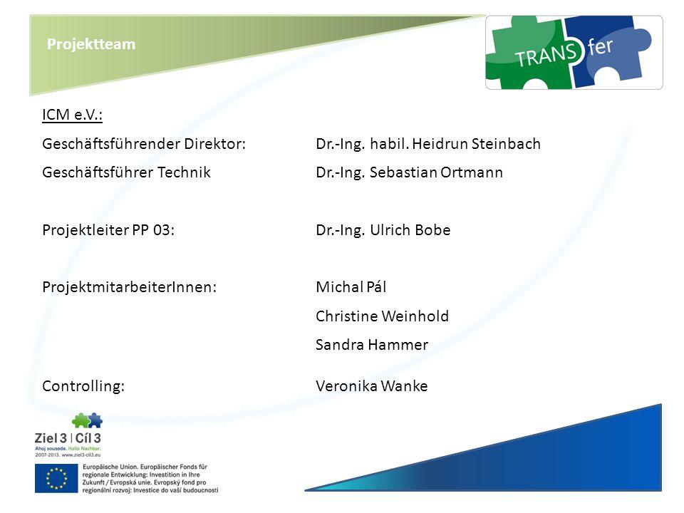 Projektteam ICM e.V.: Geschäftsführender Direktor: Dr.-Ing. habil. Heidrun Steinbach. Geschäftsführer Technik Dr.-Ing. Sebastian Ortmann.