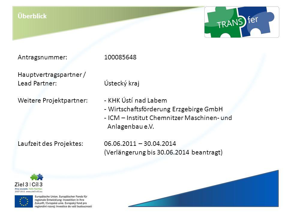 Überblick Antragsnummer: 100085648. Hauptvertragspartner / Lead Partner: Ústecký kraj. Weitere Projektpartner: - KHK Ústí nad Labem.