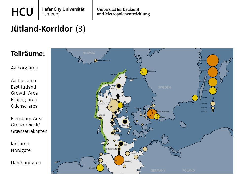 Jütland-Korridor (3) Teilräume: Aalborg area Aarhus area