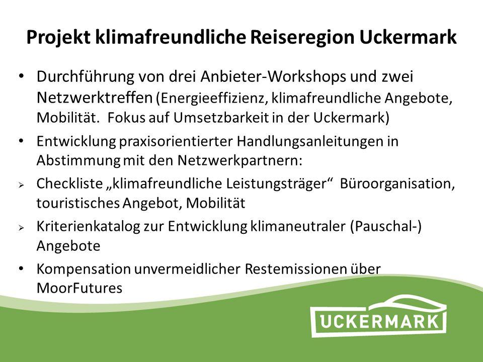 Projekt klimafreundliche Reiseregion Uckermark