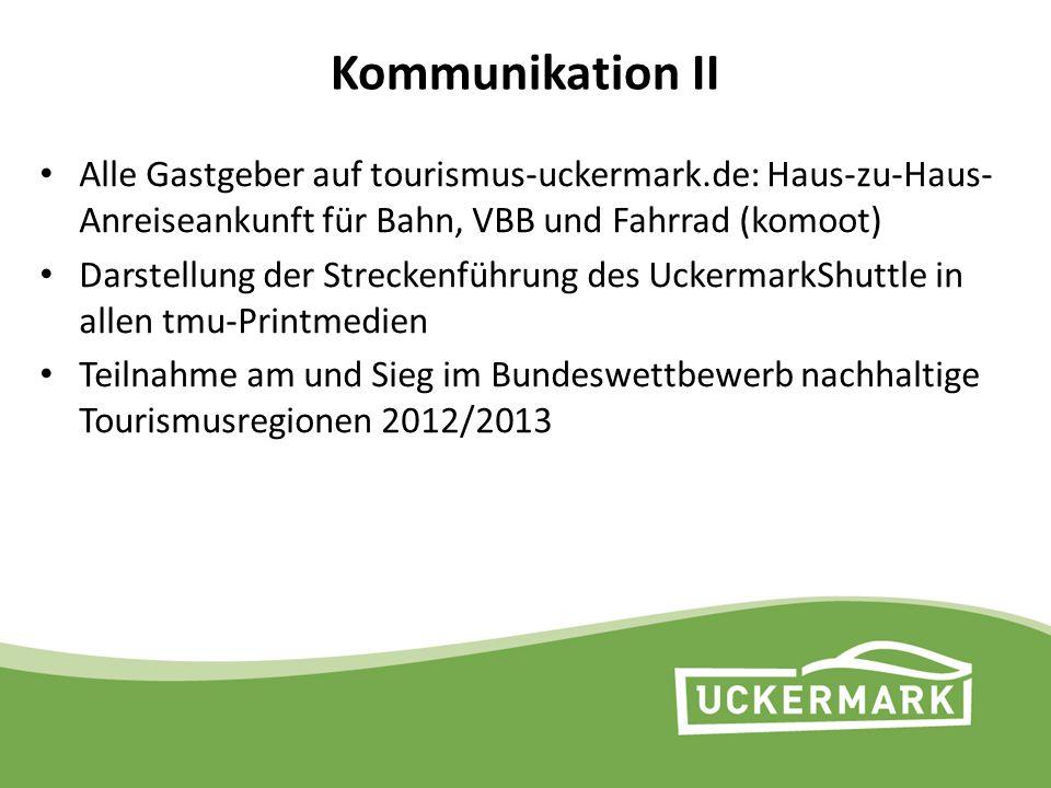 Kommunikation II Alle Gastgeber auf tourismus-uckermark.de: Haus-zu-Haus-Anreiseankunft für Bahn, VBB und Fahrrad (komoot)