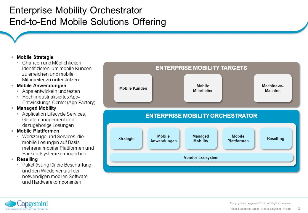 Enterprise Mobility Orchestrator End-to-End Mobile Solutions Offering