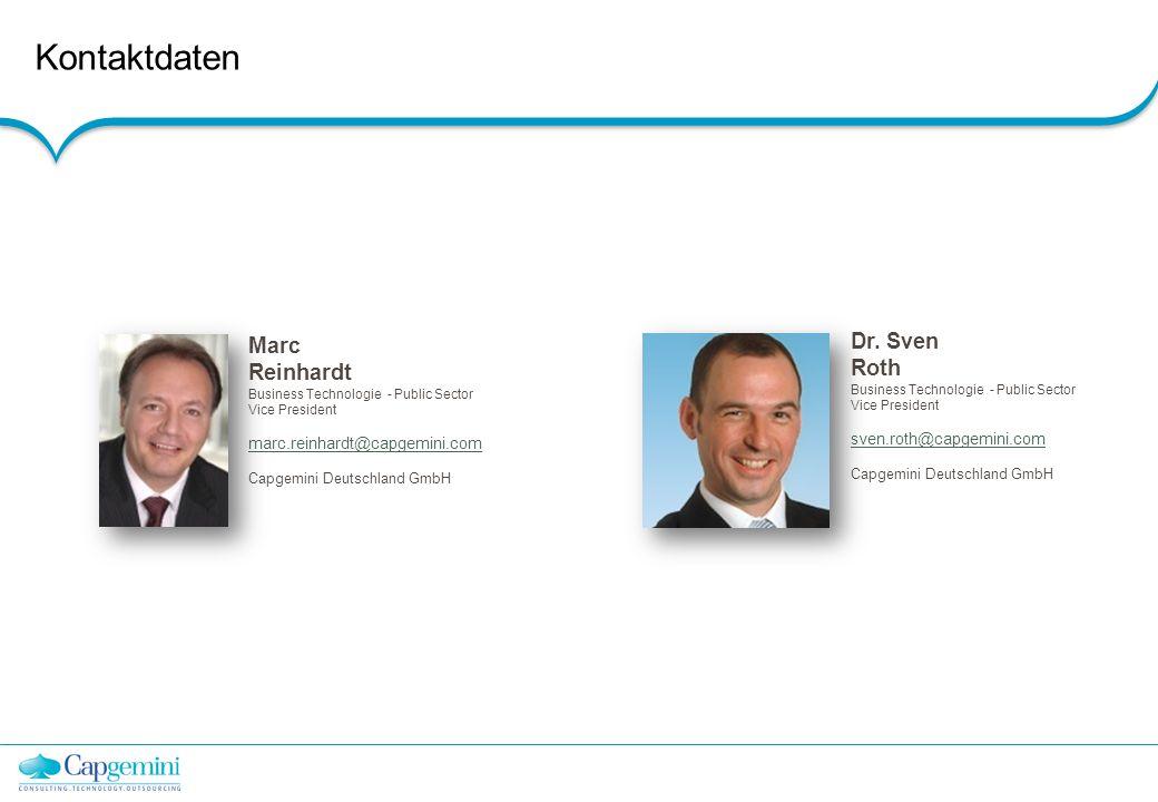 Kontaktdaten Dr. Sven Roth Marc Reinhardt Capgemini Deutschland GmbH