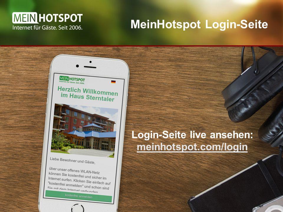 MeinHotspot Login-Seite