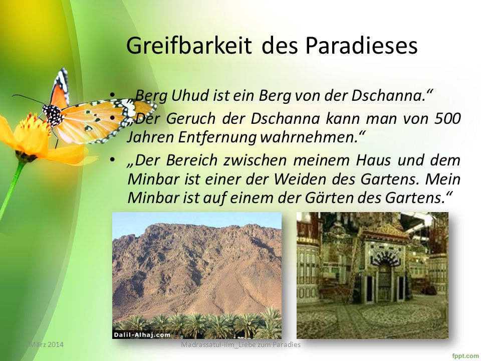 Greifbarkeit des Paradieses