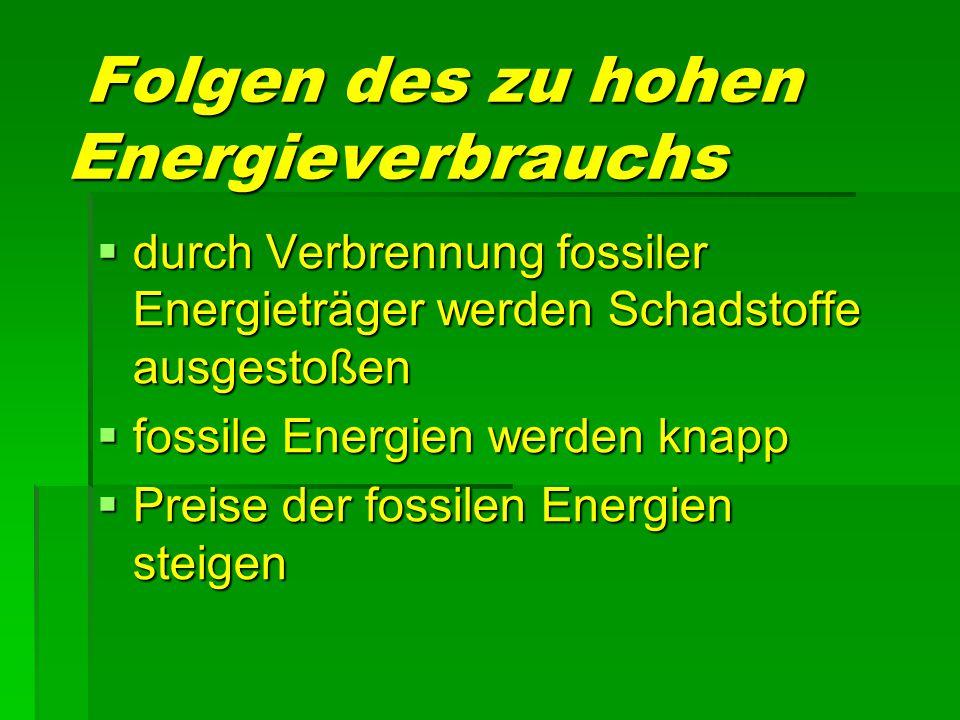 Folgen des zu hohen Energieverbrauchs