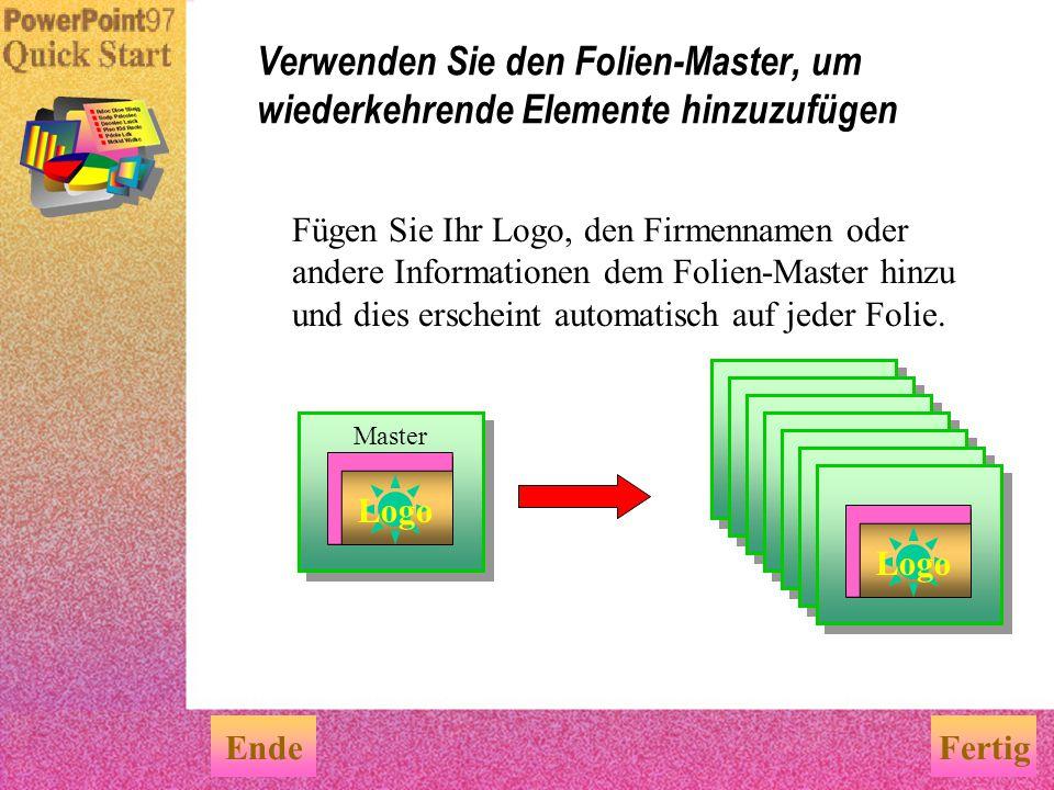 Verwenden Sie den Folien-Master, um wiederkehrende Elemente hinzuzufügen
