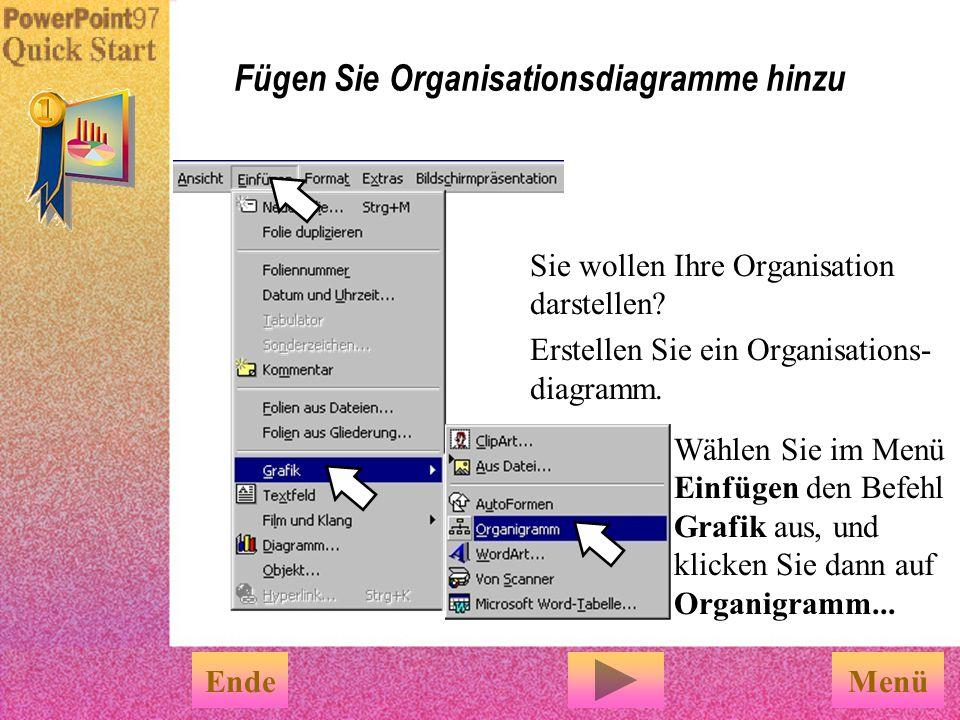 Fügen Sie Organisationsdiagramme hinzu