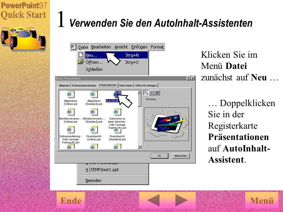 Verwenden Sie den AutoInhalt-Assistenten