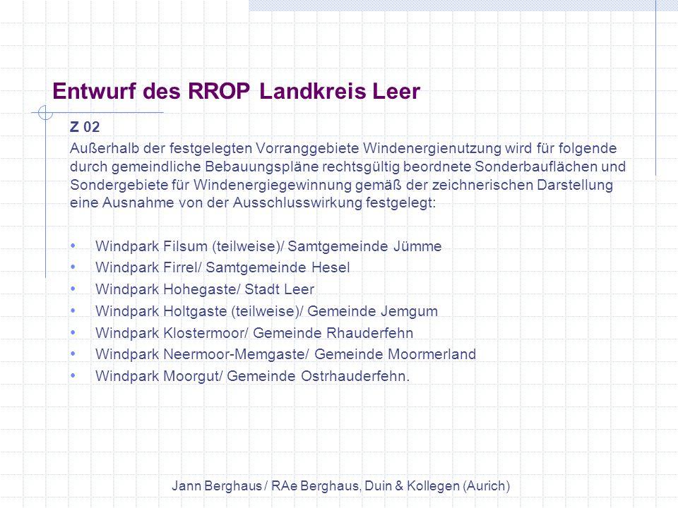 Entwurf des RROP Landkreis Leer
