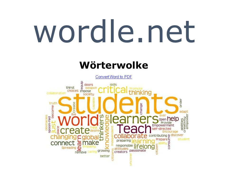 wordle.net Wörterwolke Convert Word to PDF