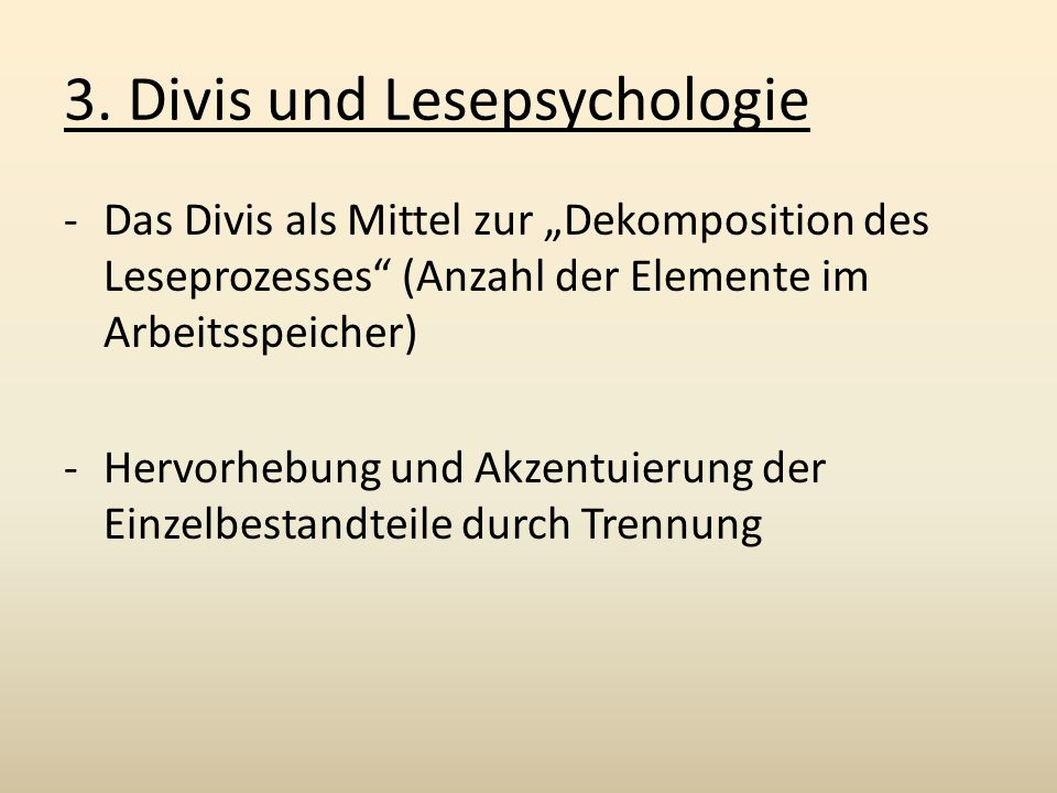 3. Divis und Lesepsychologie