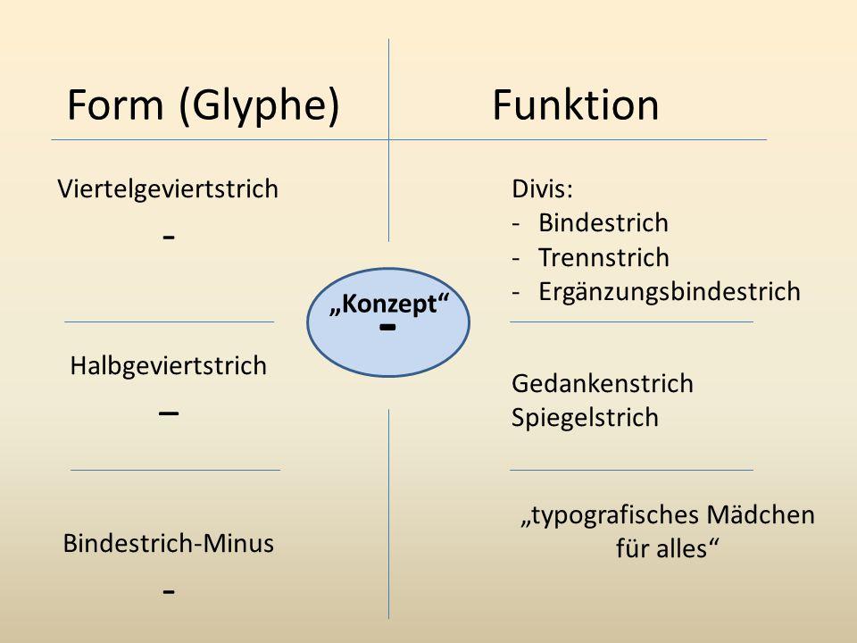 - Form (Glyphe) Funktion - − Viertelgeviertstrich Halbgeviertstrich