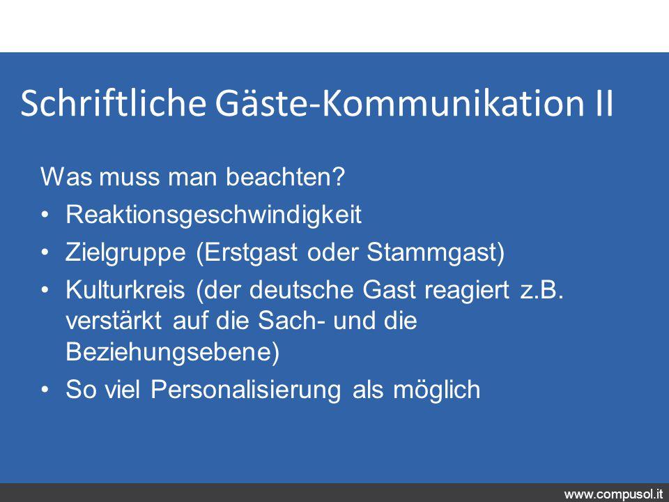 Schriftliche Gäste-Kommunikation II