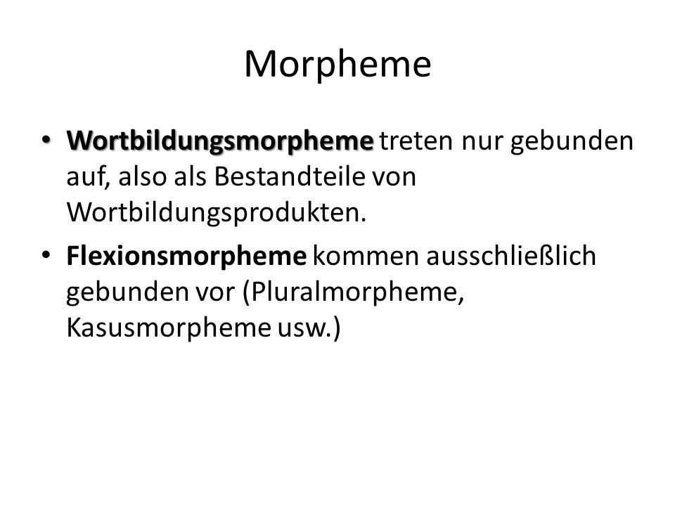 Morpheme Wortbildungsmorpheme treten nur gebunden auf, also als Bestandteile von Wortbildungsprodukten.