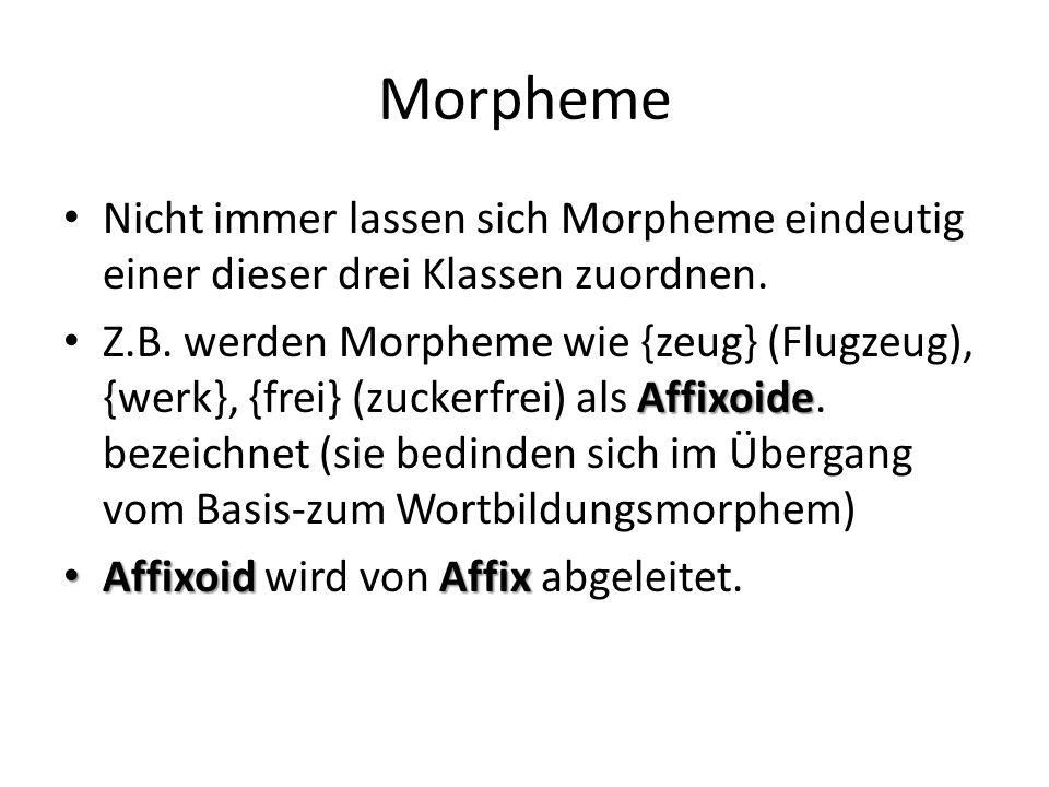 Morpheme Nicht immer lassen sich Morpheme eindeutig einer dieser drei Klassen zuordnen.
