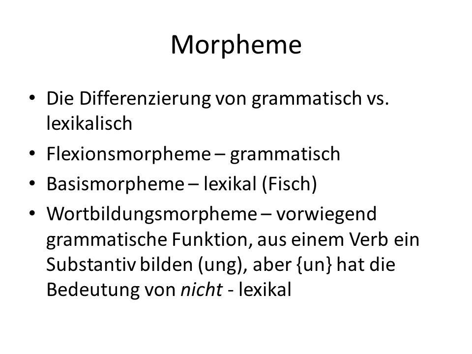 Morpheme Die Differenzierung von grammatisch vs. lexikalisch