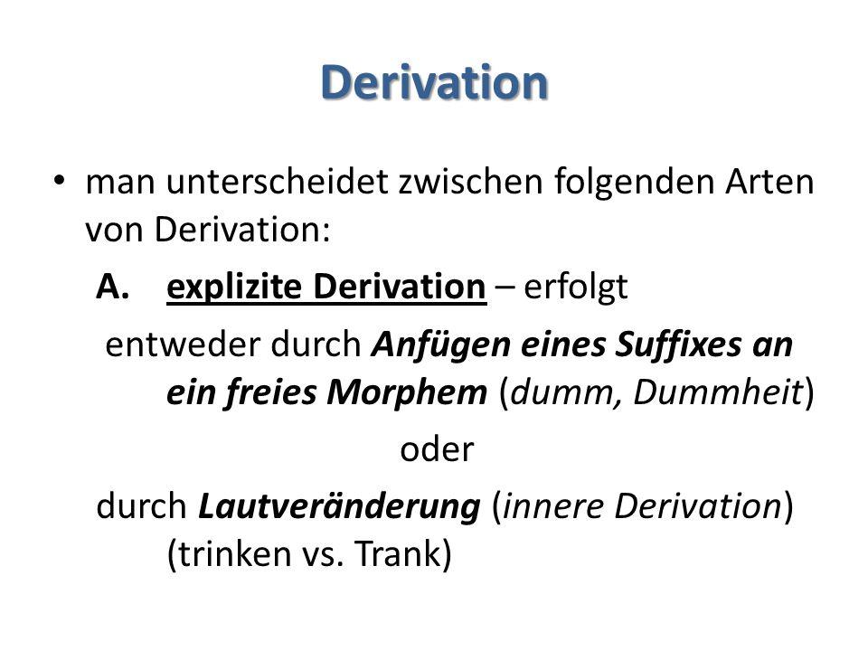 Derivation man unterscheidet zwischen folgenden Arten von Derivation: