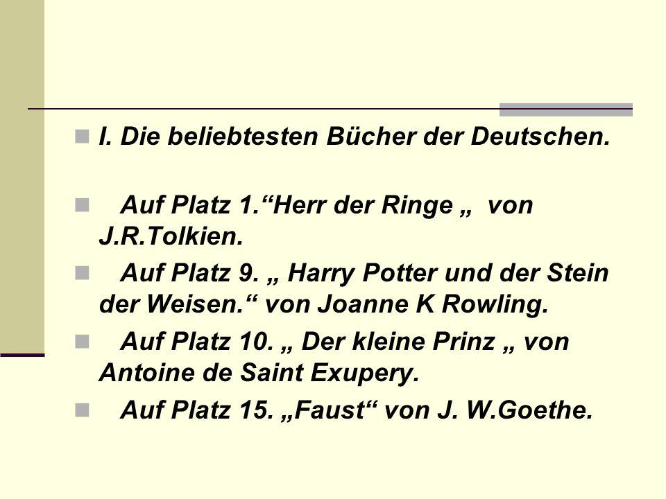 I. Die beliebtesten Bücher der Deutschen.
