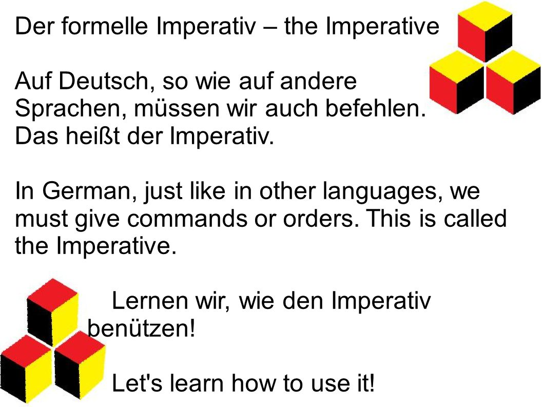 Der formelle Imperativ – the Imperative