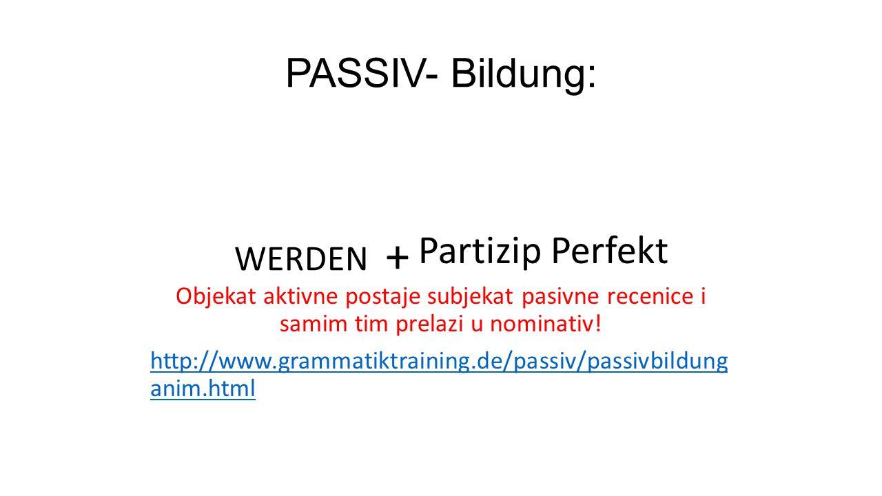 + PASSIV- Bildung: WERDEN Partizip Perfekt