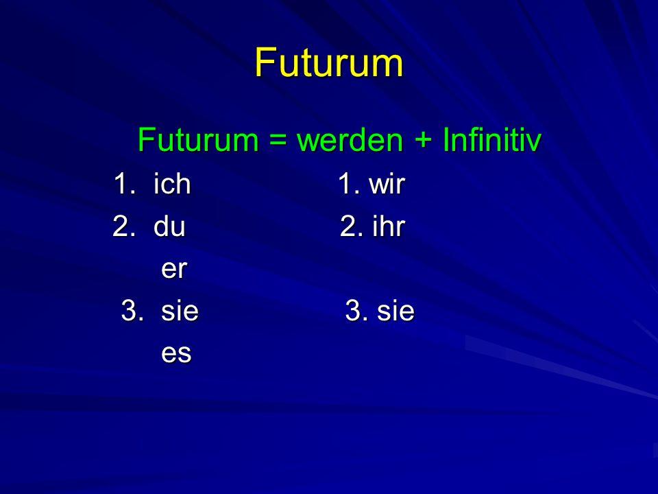 Futurum Futurum = werden + Infinitiv werde 1. ich 1. wir 2. du 2. ihr