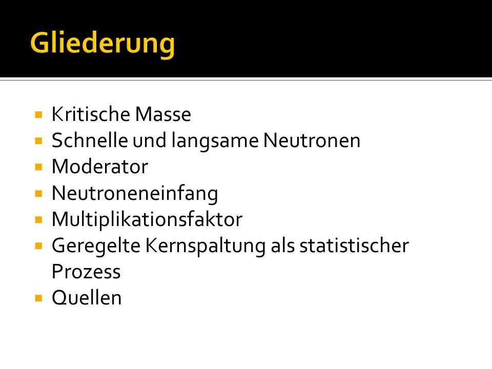 Kritische Masse Schnelle und langsame Neutronen. Moderator. Neutroneneinfang. Multiplikationsfaktor.
