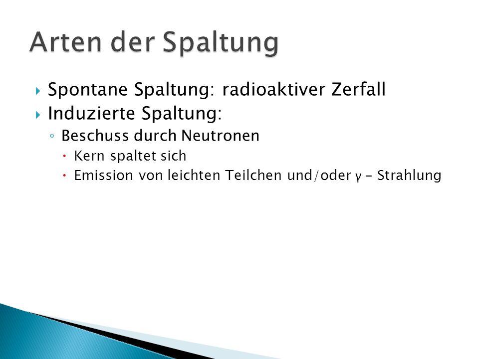 Arten der Spaltung Spontane Spaltung: radioaktiver Zerfall