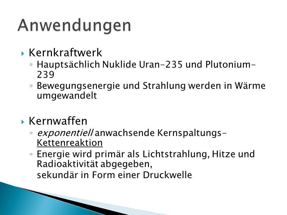 Anwendungen Kernkraftwerk Kernwaffen
